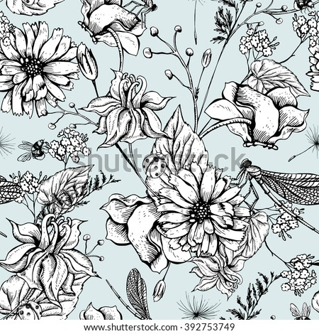 Vintage boho monochrome garden flowers vector seamless pattern, Botanical flower shabby chic pattern wildflowers, dragonflies, bees, ladybird, daisies leaves and twigs Floral design boho elements. - stock vector