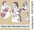 Vintage book illustration mother and child vector set - stock vector