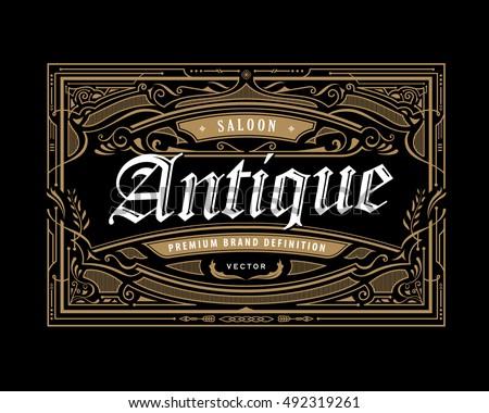 antique frame border. Vintage Border Antique Frame Western Label Retro Engraving Hand Drawn Vector Illustration