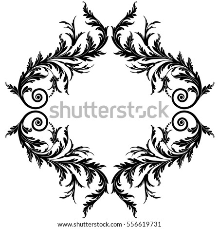 vintage border frame engraving with retro ornament pattern in antique baroque style decorative design vector