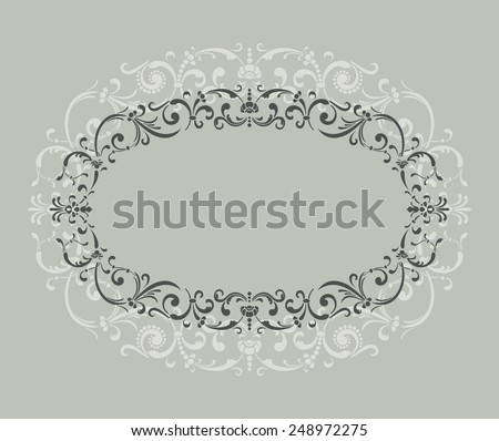 Vintage border frame with retro ornament pattern - stock vector