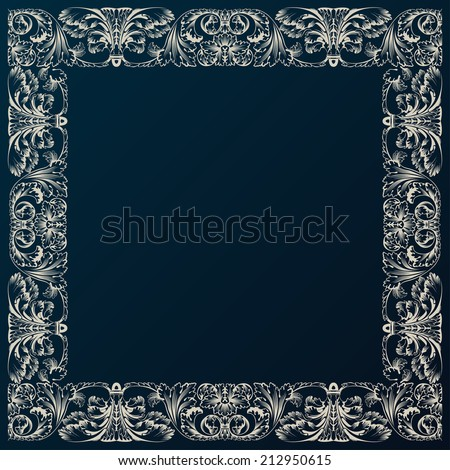 Vintage border framework decor. Baroque design with retro ornament - stock vector