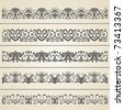 Vintage border set 1. Seamless . | Vector illustration. - stock vector
