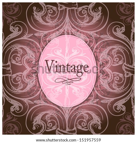 Vintage border with place for text on a seamless background - stock vector