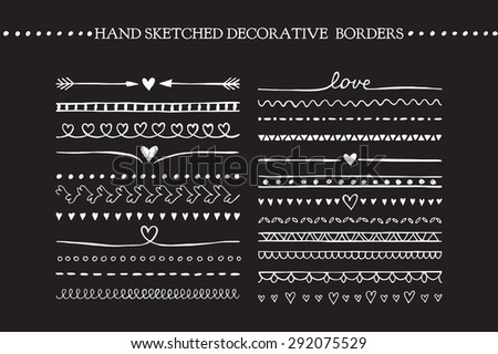Vintage borders and scroll elements. Hand drawn vector design elements - stock vector