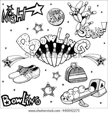 Vintage Bowling Set. Hand Drawn. - stock vector