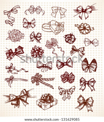 Vintage bows, big collection, hand drawn set, vector illustration - stock vector
