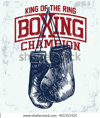 Vintage Boxing Gloves vector illustration. Template for print, t-shirt, poster or art works. - stock vector
