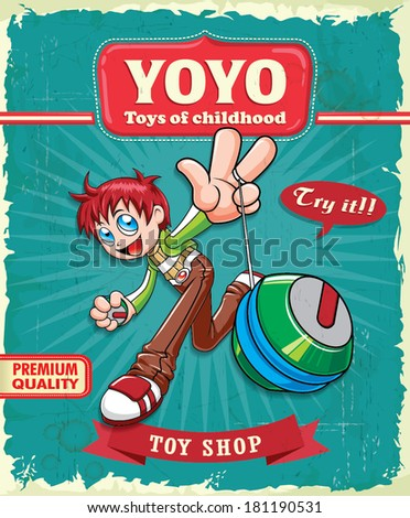 Vintage boy playing yoyo poster design - stock vector