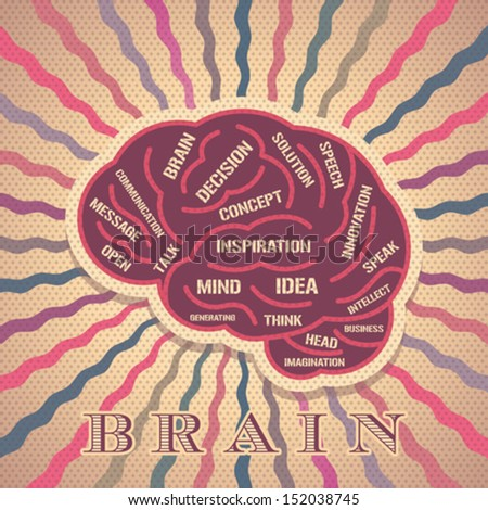 vintage brain idea - stock vector