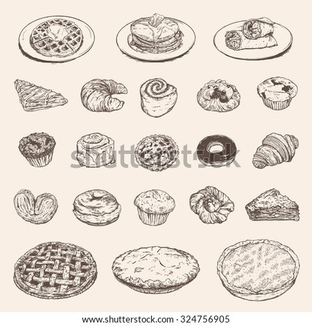 Vintage breakfast collection for your restaurant design - stock vector