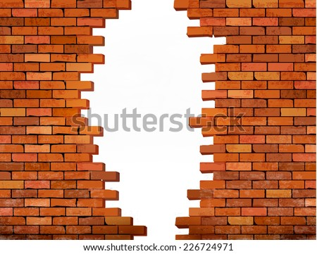Vintage brick wall background with hole. Vector  - stock vector