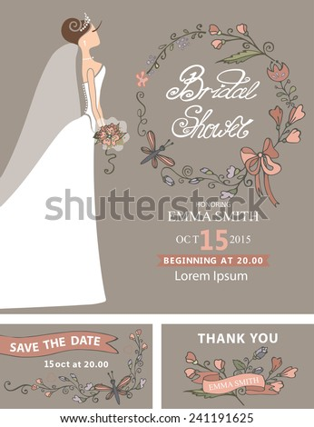 Vintage Bridal shower set.Cute cartoon  bride in white long dress.Decor elements ,ribbons,hand draw text,floral element,heart.Retro Vector design template, invitation,save date, thank card