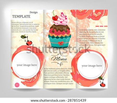 Vintage, brochure, flyer, template design with white, round, labels, watercolors shapes, text, cupcake with whipped cream and red cherry, gray background, retro design, grunge - stock vector