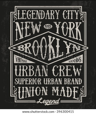 Vintage Brooklyn typography, t-shirt graphics. - stock vector