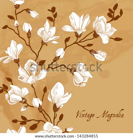 Vintage brown card with a magnolia - stock vector