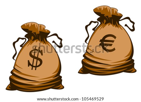 Vintage brown money bags with euro and dollar signs. Jpeg version also available in gallery - stock vector