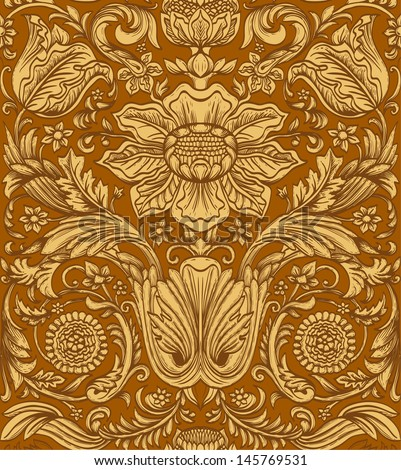 Vintage brown seamless pattern baroque - stock vector