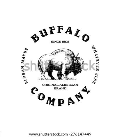 Vintage Buffalo Logo - stock vector