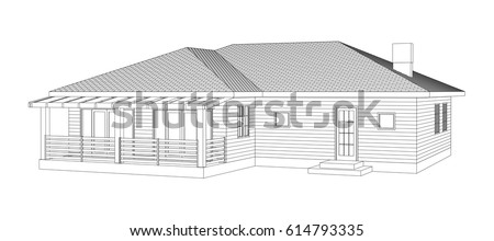 House blueprint stock images royalty free images vectors drawing of the suburban house outlines cottage on white background malvernweather Image collections