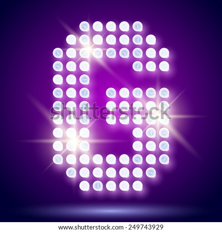 Vintage bulb lamp realistic font of 80s disco with stars. Letter G - stock vector