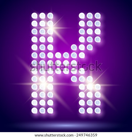 Vintage bulb lamp realistic font of 80s disco with stars. Letter K - stock vector