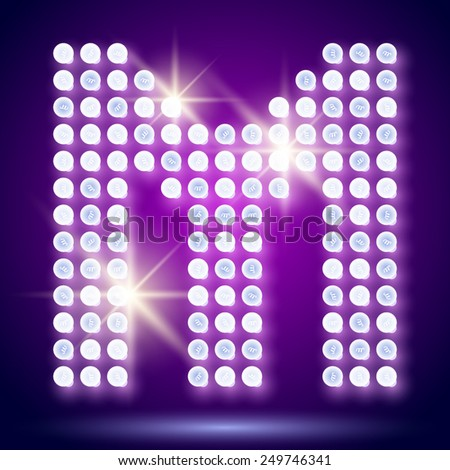 Vintage bulb lamp realistic font of 80s disco with stars. Letter M - stock vector