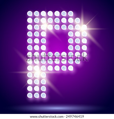 Vintage bulb lamp realistic font of 80s disco with stars. Letter P - stock vector