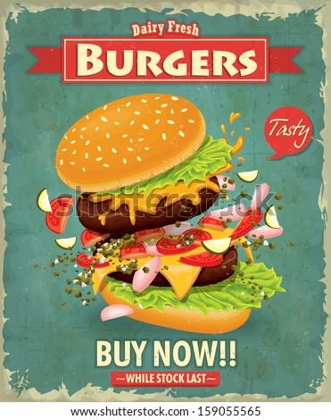 Vintage burger poster design - stock vector