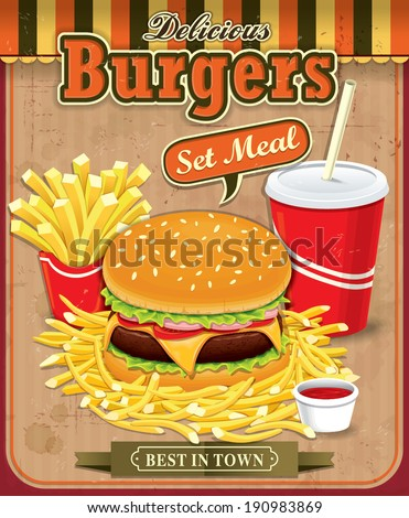 Vintage Burgers with fries and drink set poster design - stock vector