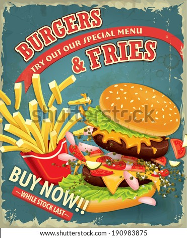 Vintage Burgers with fries set poster design - stock vector