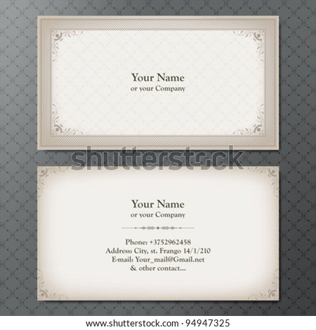 Vintage business card - stock vector