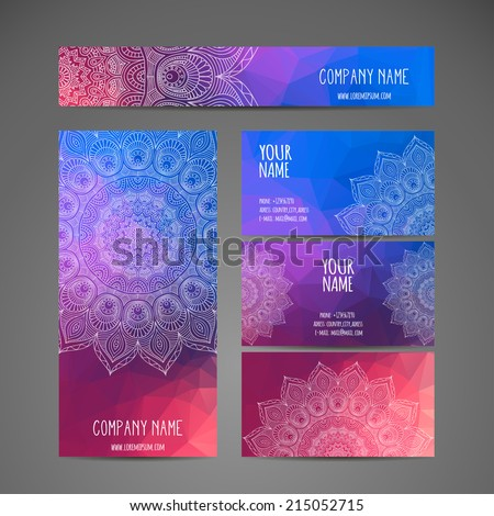Vintage business card. Round Ornament Pattern. Vintage decorative elements. Hand drawn background. Islam, Arabic, Indian, ottoman motifs. - stock vector
