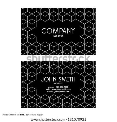 Vintage business card template on white background - stock vector