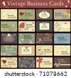Vintage business cards collection. Beautiful harmonic colors. - stock vector