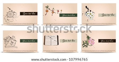 vintage business cards set. Vector illustration EPS10