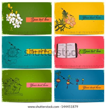 vintage business cards set. Vector illustration EPS10 - stock vector
