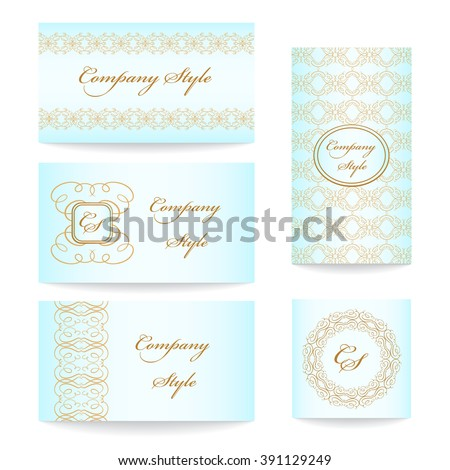 Vintage business cards vector set. Classical style.  - stock vector