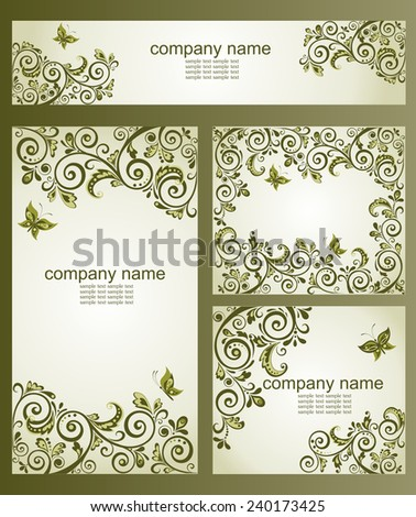 Vintage business cards with floral olive design - stock vector