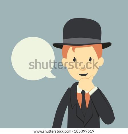Vintage businessman  - stock vector