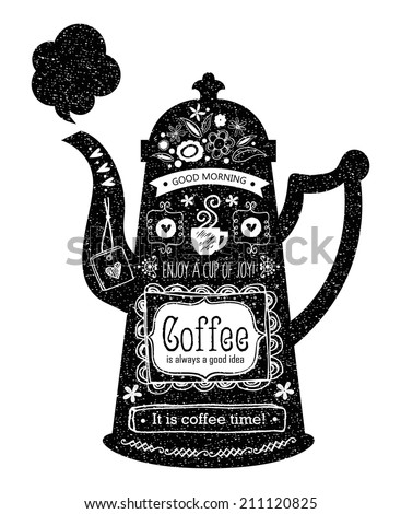 Vintage Cafe Menu with a teapot or kettle shape