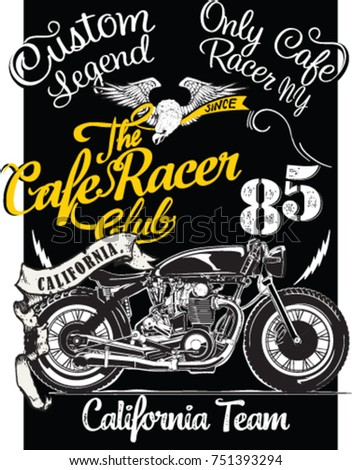 Vintage Cafe Racer Poster Illustration