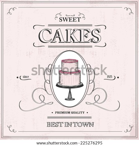 vintage cake background - label - stock vector