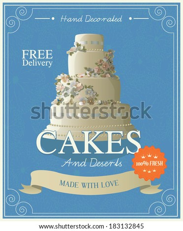 Vintage Cakes Poster. Vector illustration. - stock vector