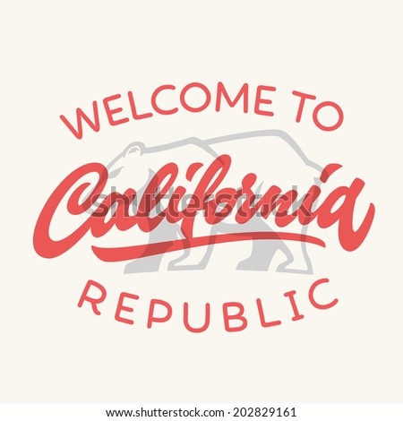 Vintage california republic calligraphic handwritten t-shirt apparel fashion design and bear, vector illustration - stock vector