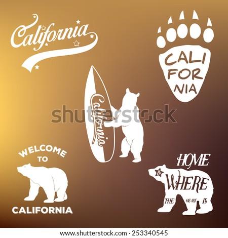 Vintage california republic t-shirt apparel fashion design and bear, vector illustration - stock vector