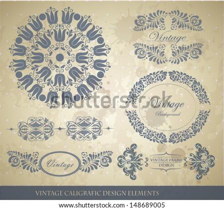 Vintage caligrafic design elements - stock vector