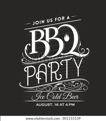 Vintage Calligraphic BBQ Party Invitation Template - stock vector