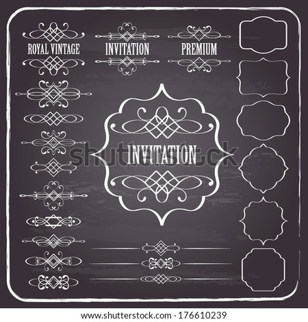 Vintage calligraphic design elements set on chalkboard retro background. page decoration, dividers, text  - stock vector