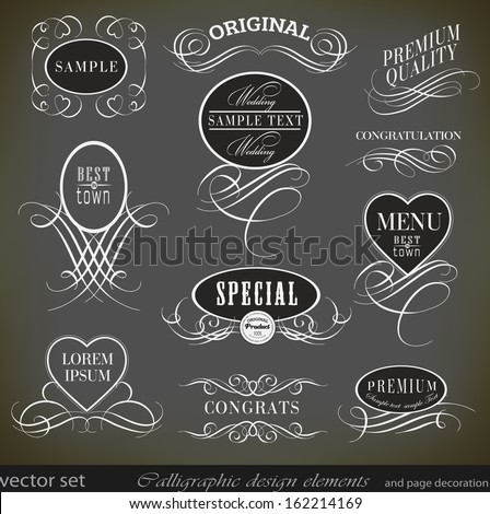 Vintage calligraphic design elements/ vector set - stock vector